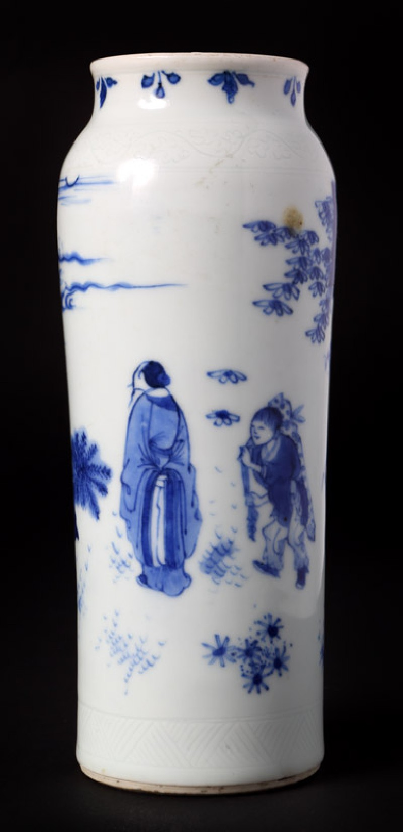 Blue-and-white vase with figures in a landscape