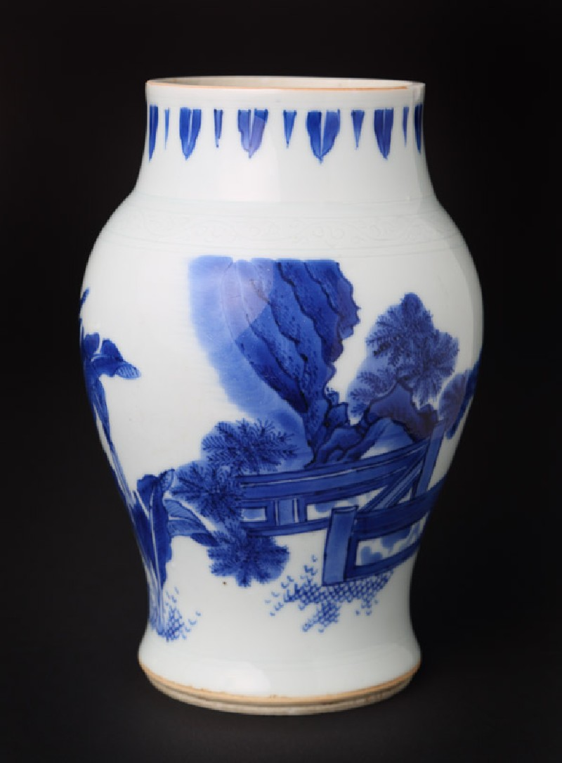 Blue-and-white jar with figures in a landscape