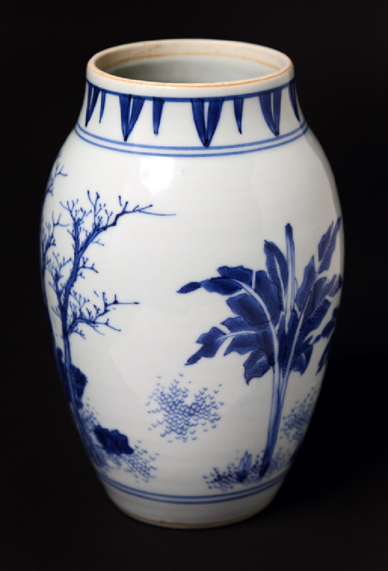Blue-and-white jar with mythical figures in a landscape (front             )