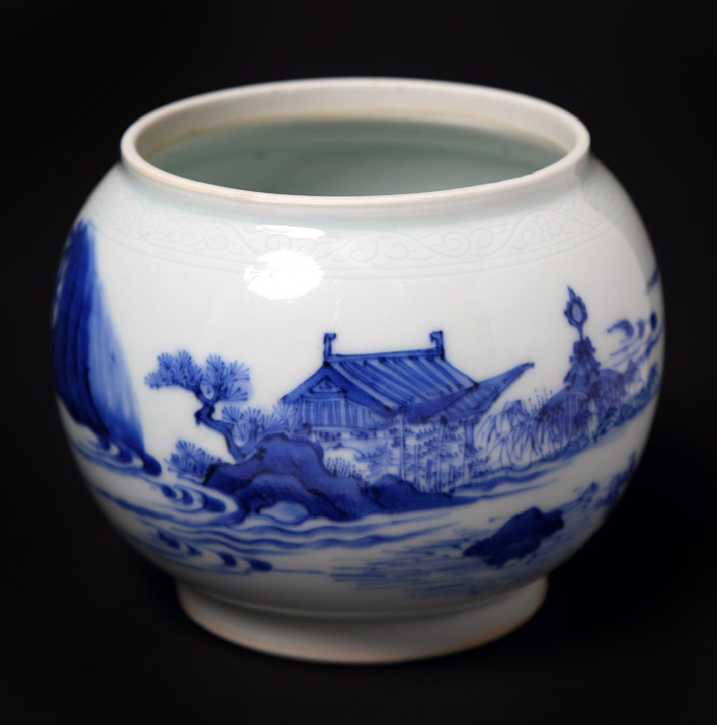 Blue-and-white bowl with figure lying beneath a tree (EA1978.2013, front             )