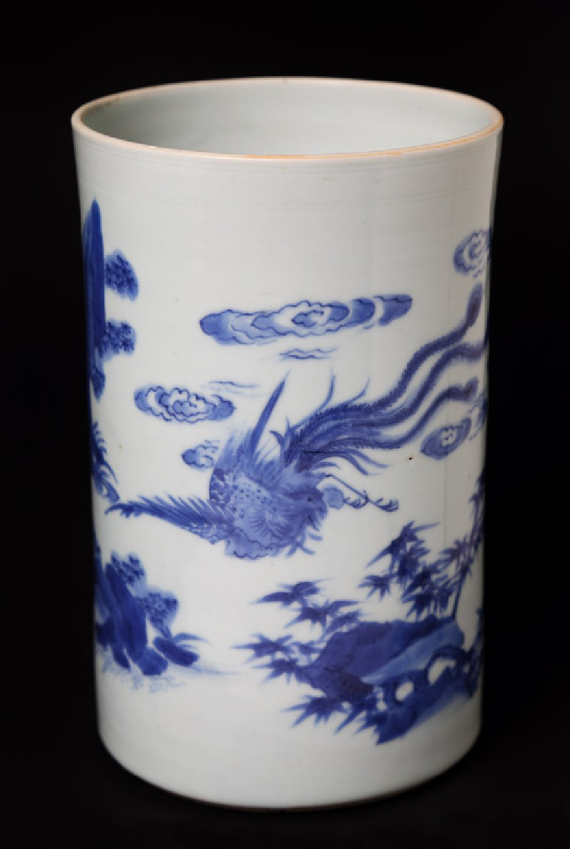 Blue-and-white brush pot with kylin, or horned creature, and phoenix