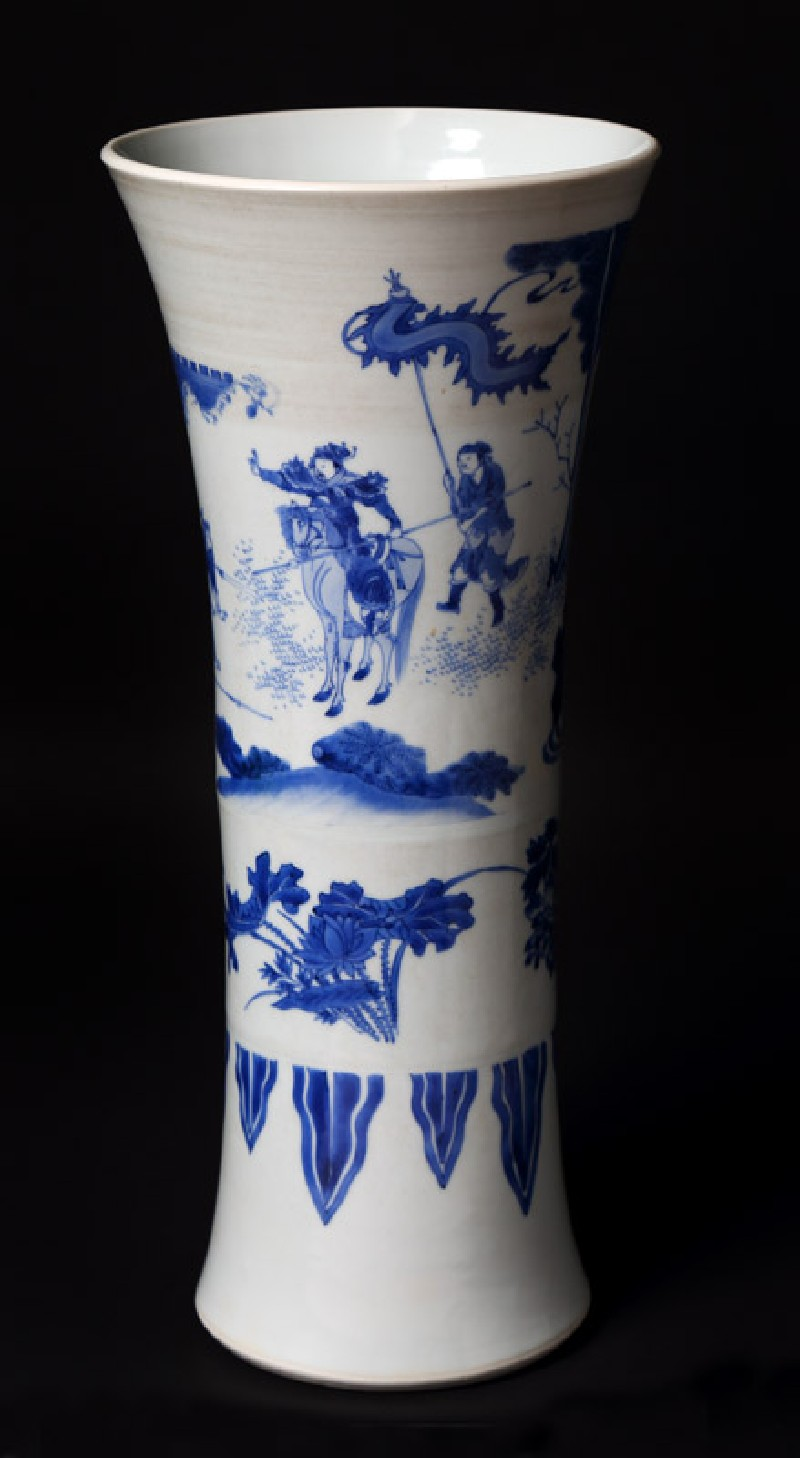 Blue-and-white beaker vase with warriors in a landscape (EA1978.2035, front             )