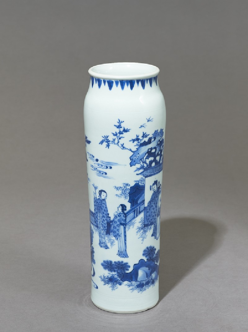 Blue-and-white vase depicting a scholar watching two women