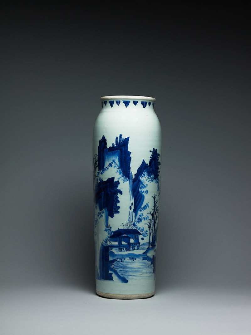 Blue-and-white vase with figures in a mountainous landscape (EA1978.2057, side             )