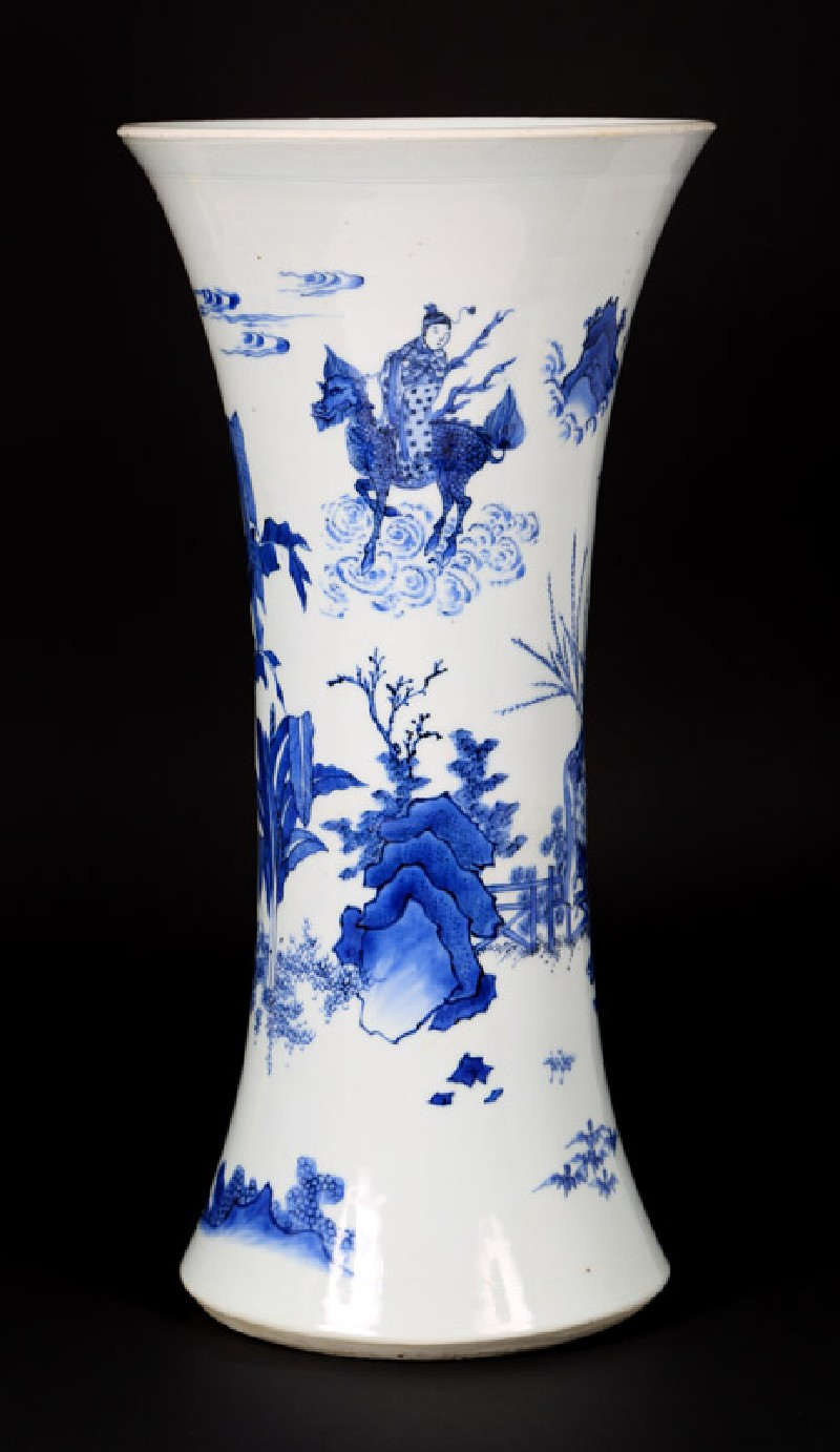Blue-and-white vase with figures in a landscape (front             )