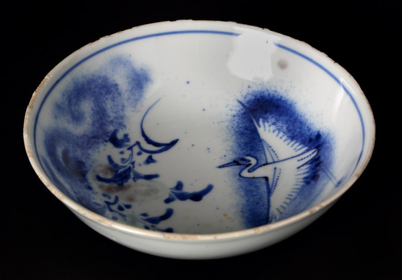 Blue-and-white bowl with crane and flowering branches (EA1978.2061, front             )