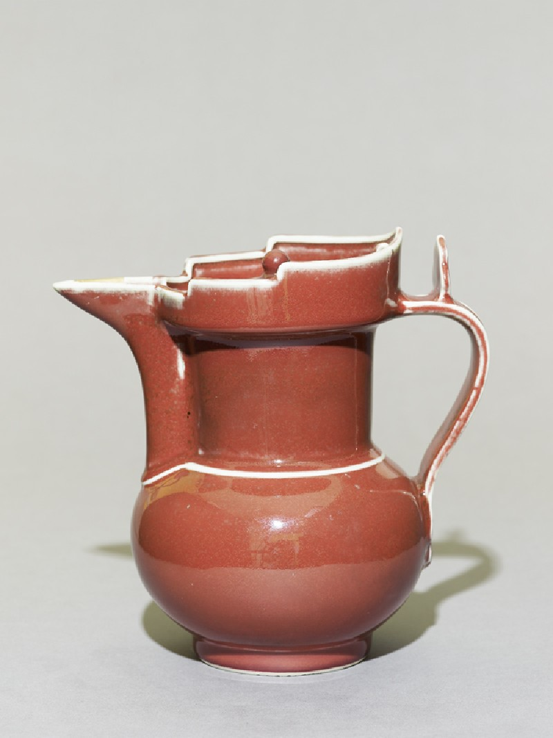 Porcelain ewer in the form of a Tibetan monk's cap