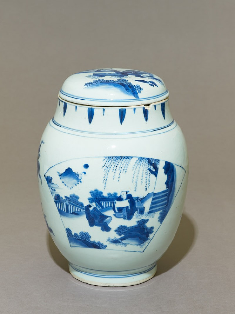 Blue-and-white jar and lid with scholars on a terrace (EA1978.2093, oblique             )