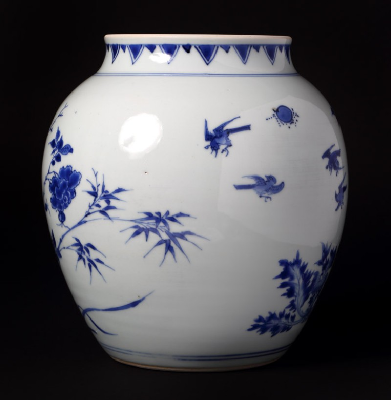 Blue-and-white jar with birds, rocks, and flowering branches (front             )