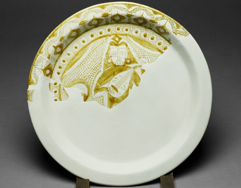 Fragmentary dish with figure of a musician (EA1978.2146, front             )