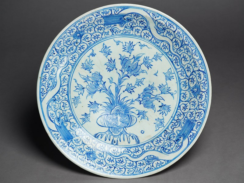 Dish with peonies and three dragons (EA1978.2168, top             )