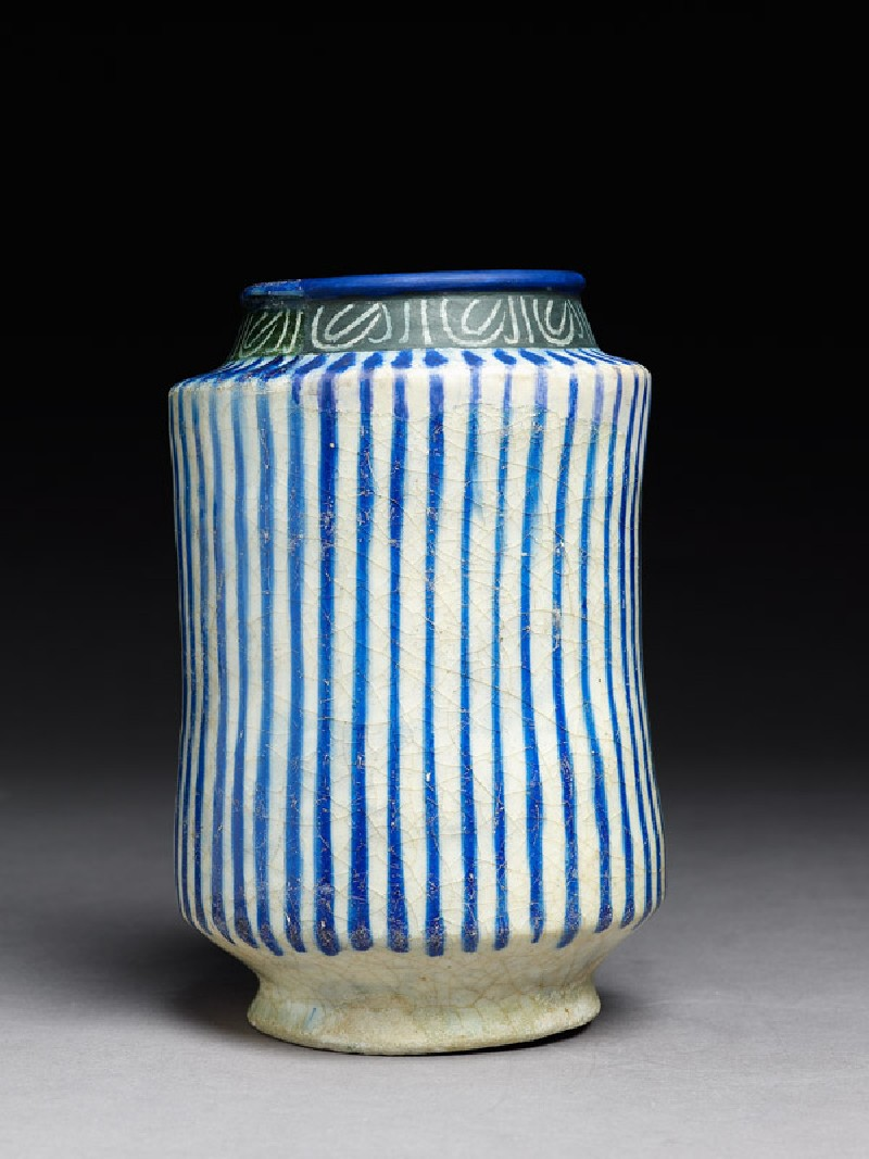 Albarello, or storage jar, with stripes and inscription