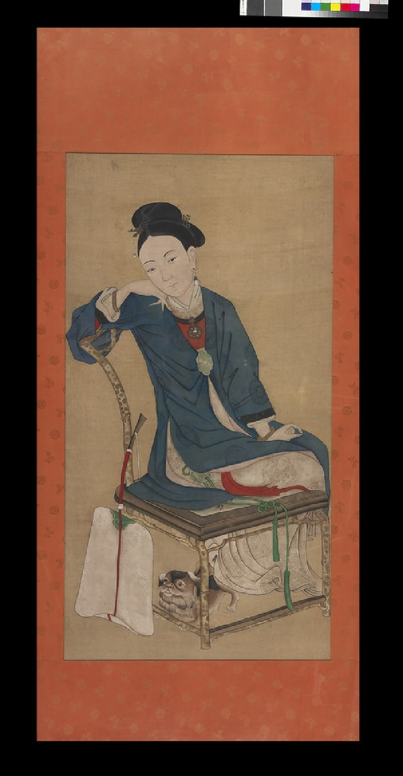 Girl seated with a fan and small dog (front             )