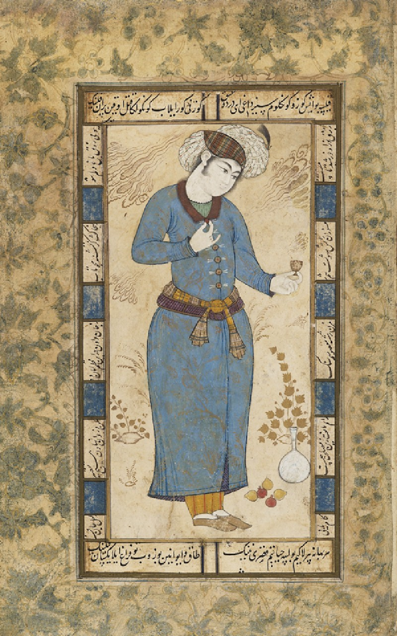 Page from a dispersed muraqqa', or album, depicting a courtier holding a wine cup (EA1978.2567, front             )