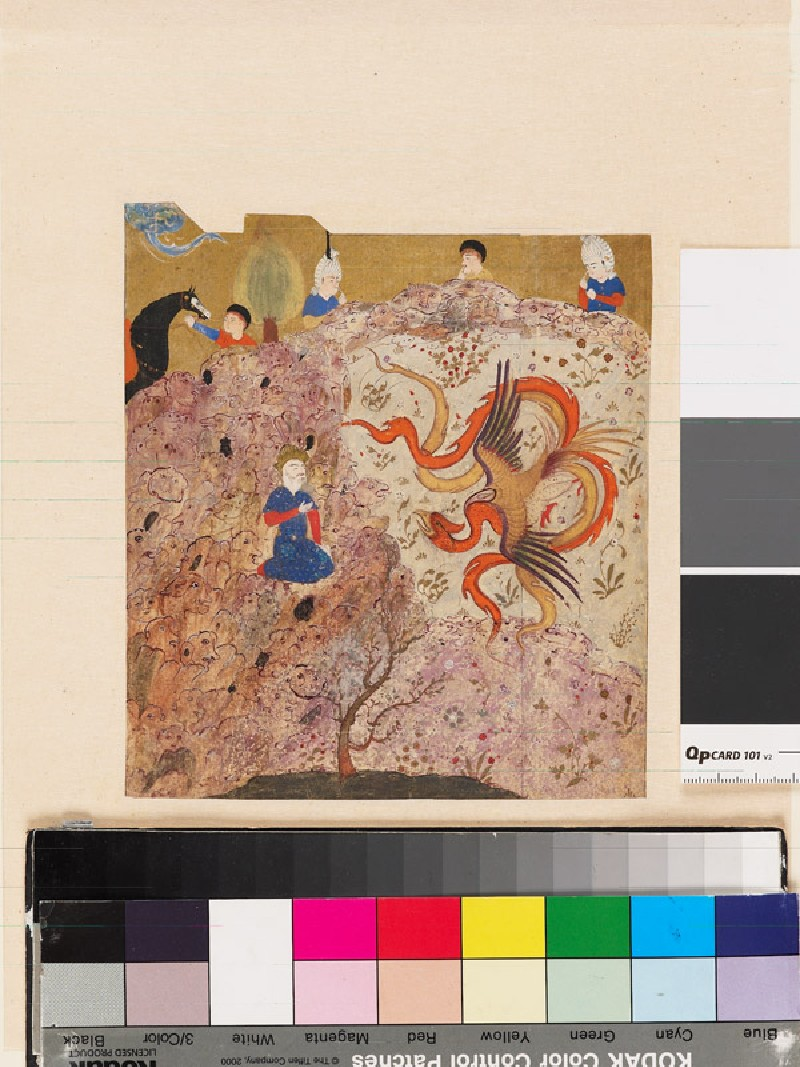 Prince conversing with a simurgh, a mythical bird