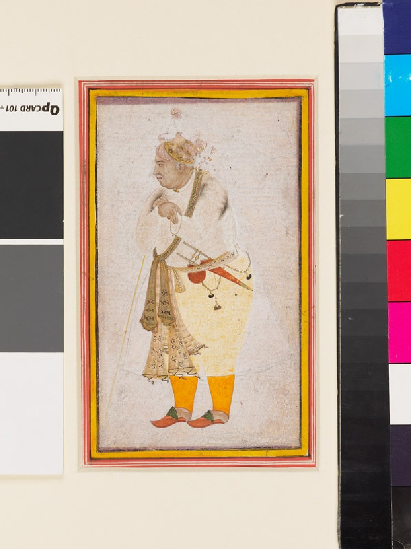 Portrait of a man, possibly Raja Man Singh (front             )