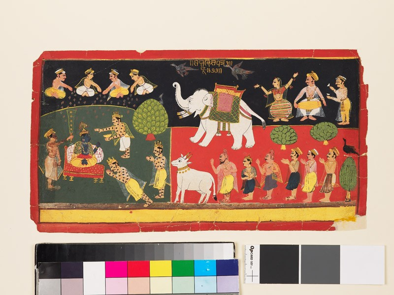 Krishna revered by Indra arriving on a white elephant (EA1979.12, front           )