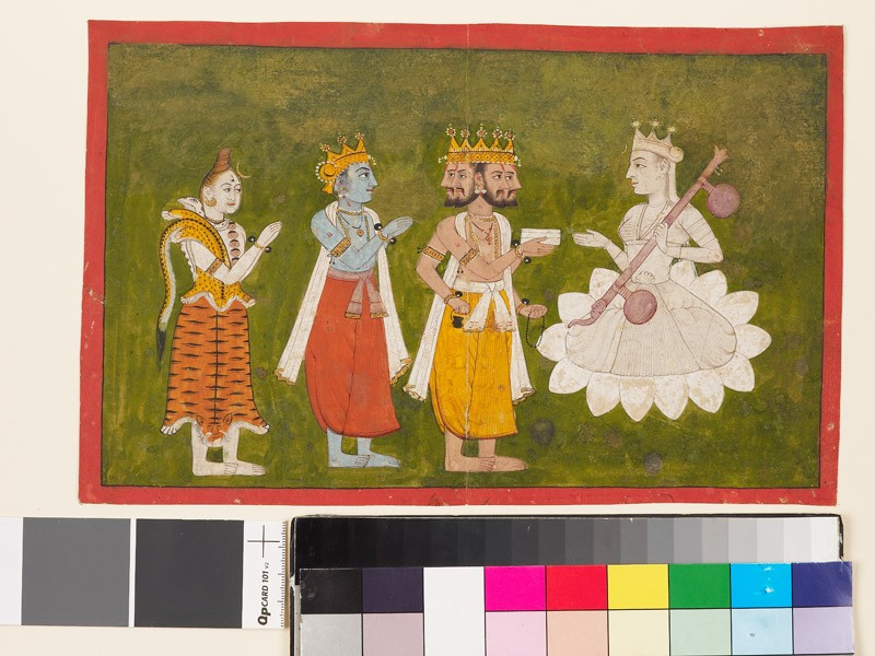 Devi revered by Brahma, Vishnu, and Shiva