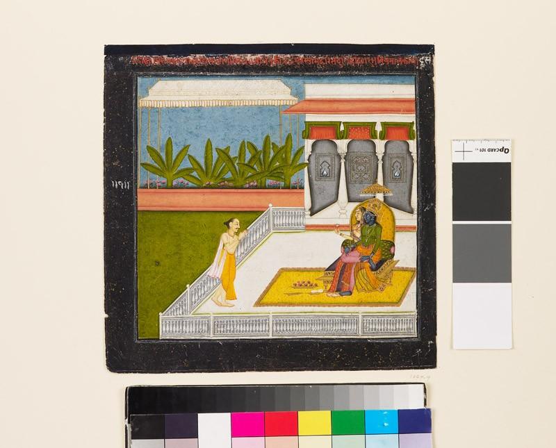 The poet Bihari Lal venerates Krishna and Radha (EA1979.9, front          )