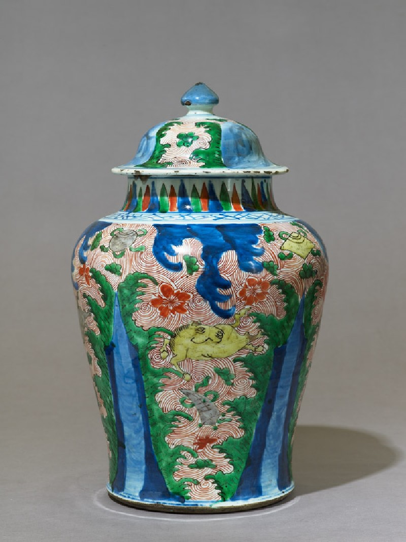 Vase with waves and horses