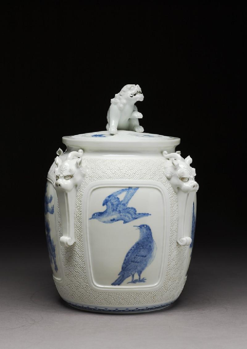 Water jar surmounted by a shishi, or lion dog (side          )