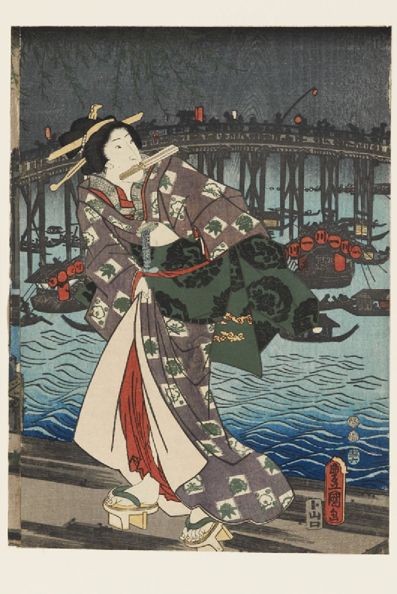 A courtesan on a jetty (EA1983.34.b, front             )