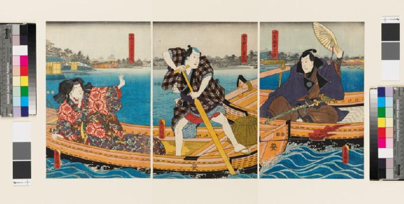 Richly dressed courtesan Miura-no-Takao with Ryōshi (fisherman) Yoemon encounters another in a boat Yoshida jazaburo