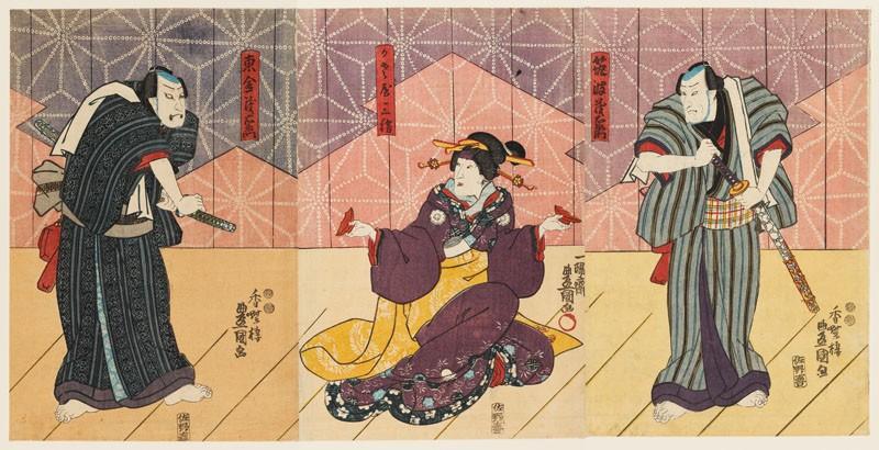Two merchants compete for the love of the geisha Kasaya Sankatsu (front           )