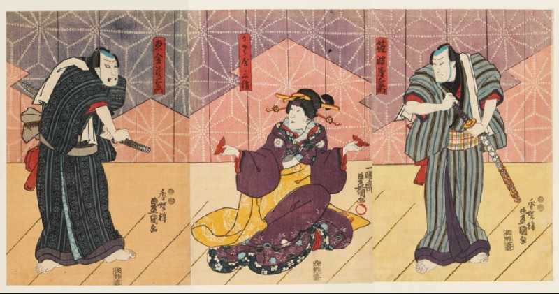 Two merchants compete for the love of the geisha Kasaya Sankatsu (EA1983.36)