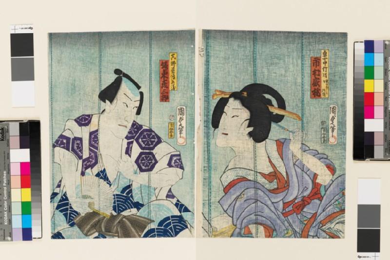 Ichimura Kakitsu as the maid (okujochu) Takegawa (in truth Subashiri Okuma) and Bandō Hikosaburō V as Hanaya Tokubei (EA1983.66, front           )