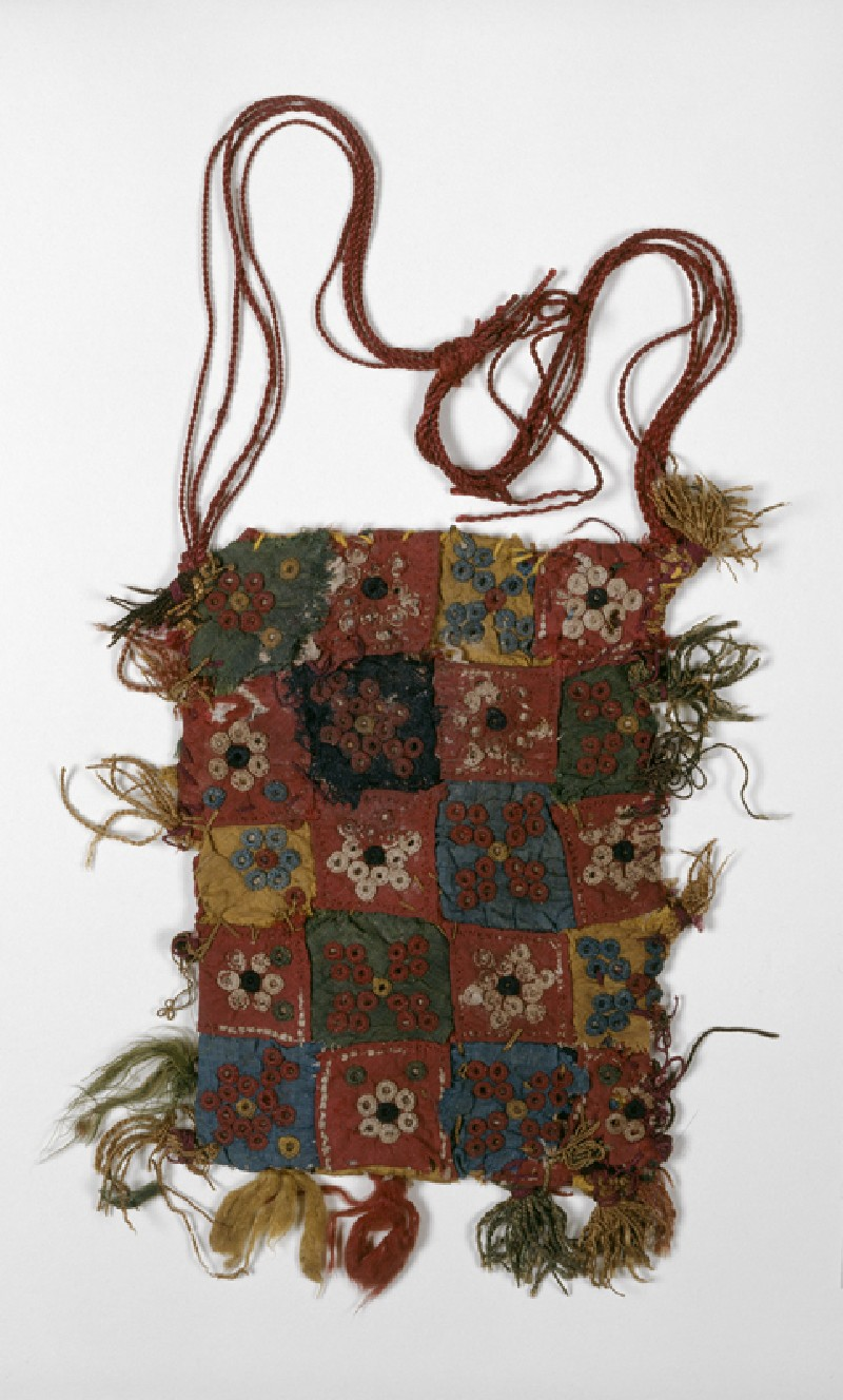 Quilted bag with rosettes, stars, and quatrefoils, probably an amulet-bag