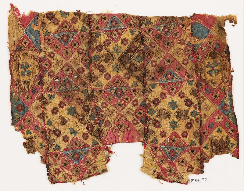 Patchwork fragment with quilting, possibly from a bag