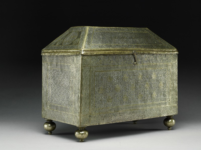 Box with calligraphy and geometric and heraldic patterns (EA1984.15, oblique           )