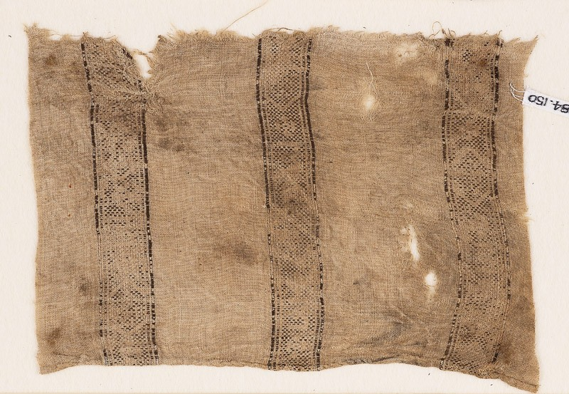 Textile fragment with bands of lozenges and quatrefoils