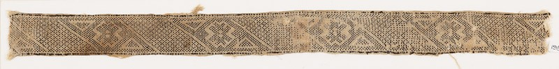 Textile fragment with bands of grids, crosses, and triangles