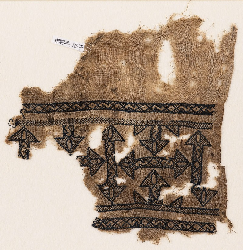 Textile fragment with arrows (front            )