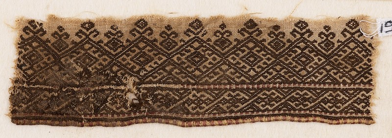 Textile fragment with linked diamond-shapes (EA1984.175, front            )