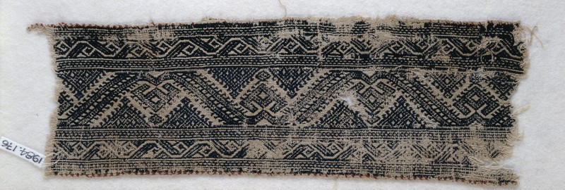 Textile fragment with leaf scrolls, palmettes, and triangles (EA1984.176, front            )