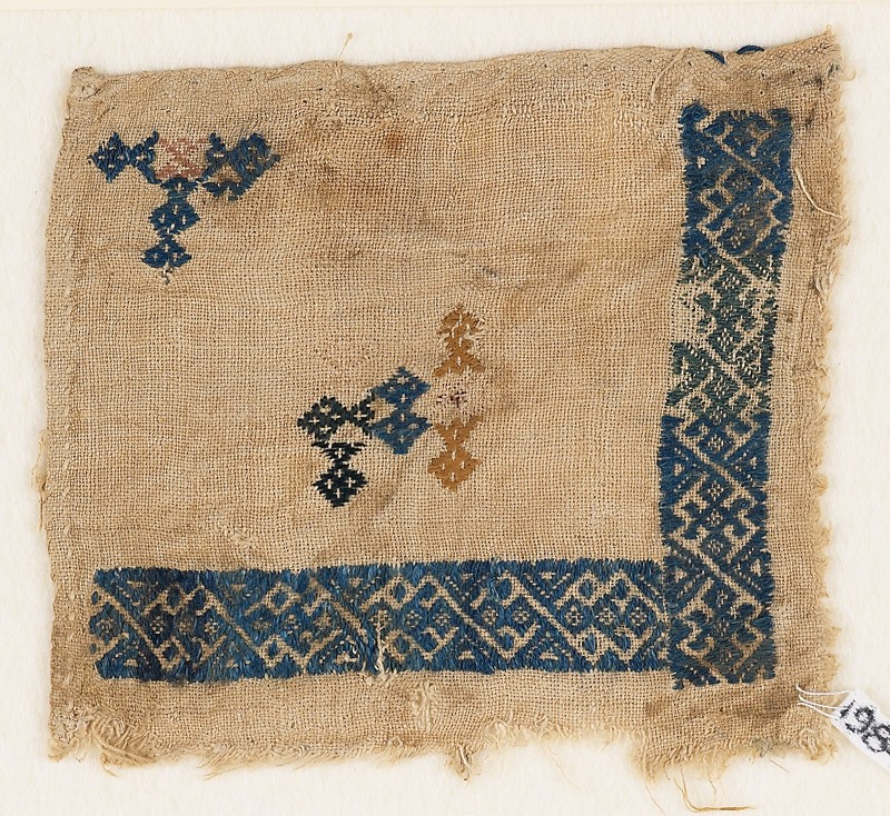Textile fragment with linked and interlaced diamond-shapes (EA1984.210, front            )