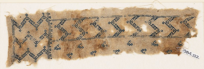 Textile fragment with chevrons and birds, probably from a tunic