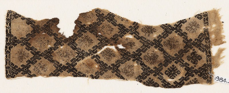 Textile fragment with grid of linked S-shapes (front            )