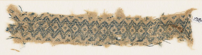 Textile fragment with band of linked diamond-shapes