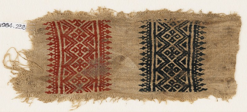 Textile fragment with diamond-shapes, quatrefoils, and trees