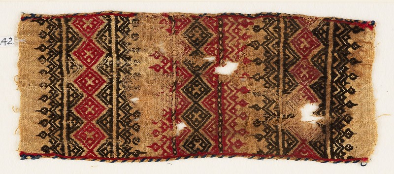 Textile fragment with bands of linked squares, crosses, triangles, and leaves (front            )