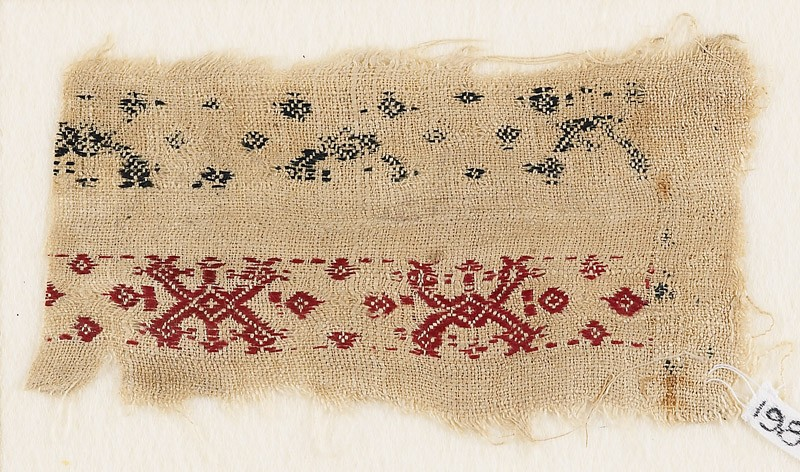 Textile fragment with bands of interlaced crosses and diamond-shapes