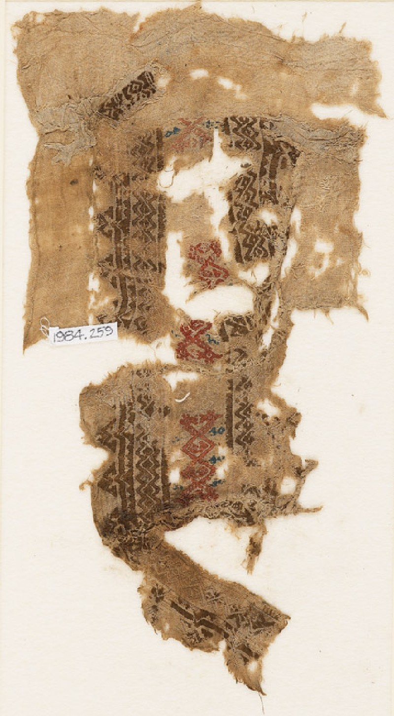 Textile fragment with linked rhombic shapes (EA1984.259, front            )