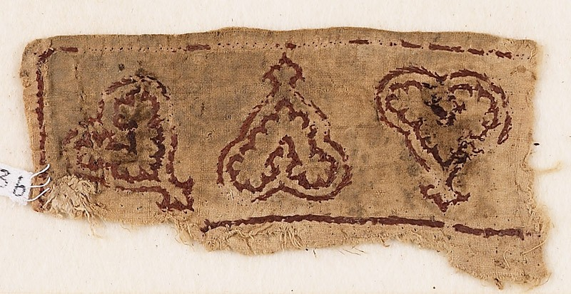 Textile fragment with leaves and palmettes, possibly from trousers or a collar (EA1984.263.b, front              )