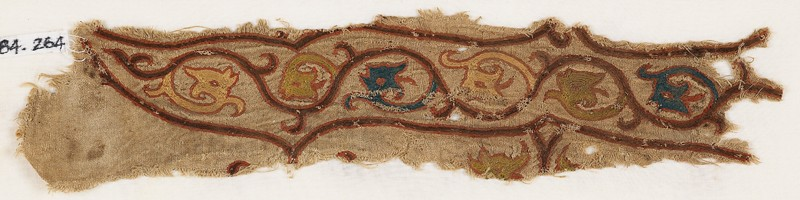 Textile fragment with tendrils and dragon heads (front            )