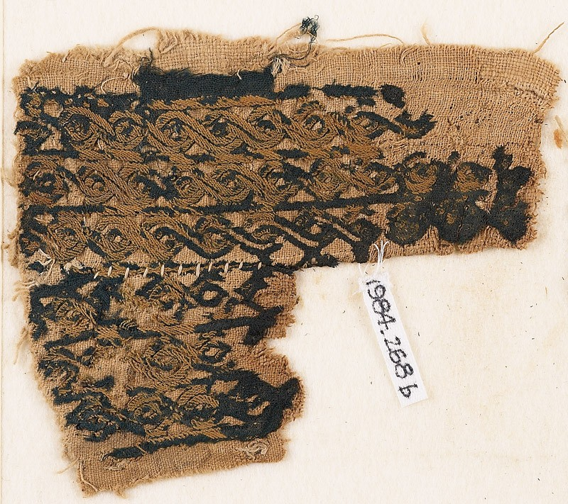 Textile fragment with bands of interlaced braid (front              )