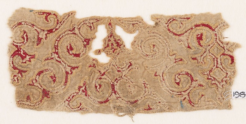 Textile fragment with tendrils and leaves